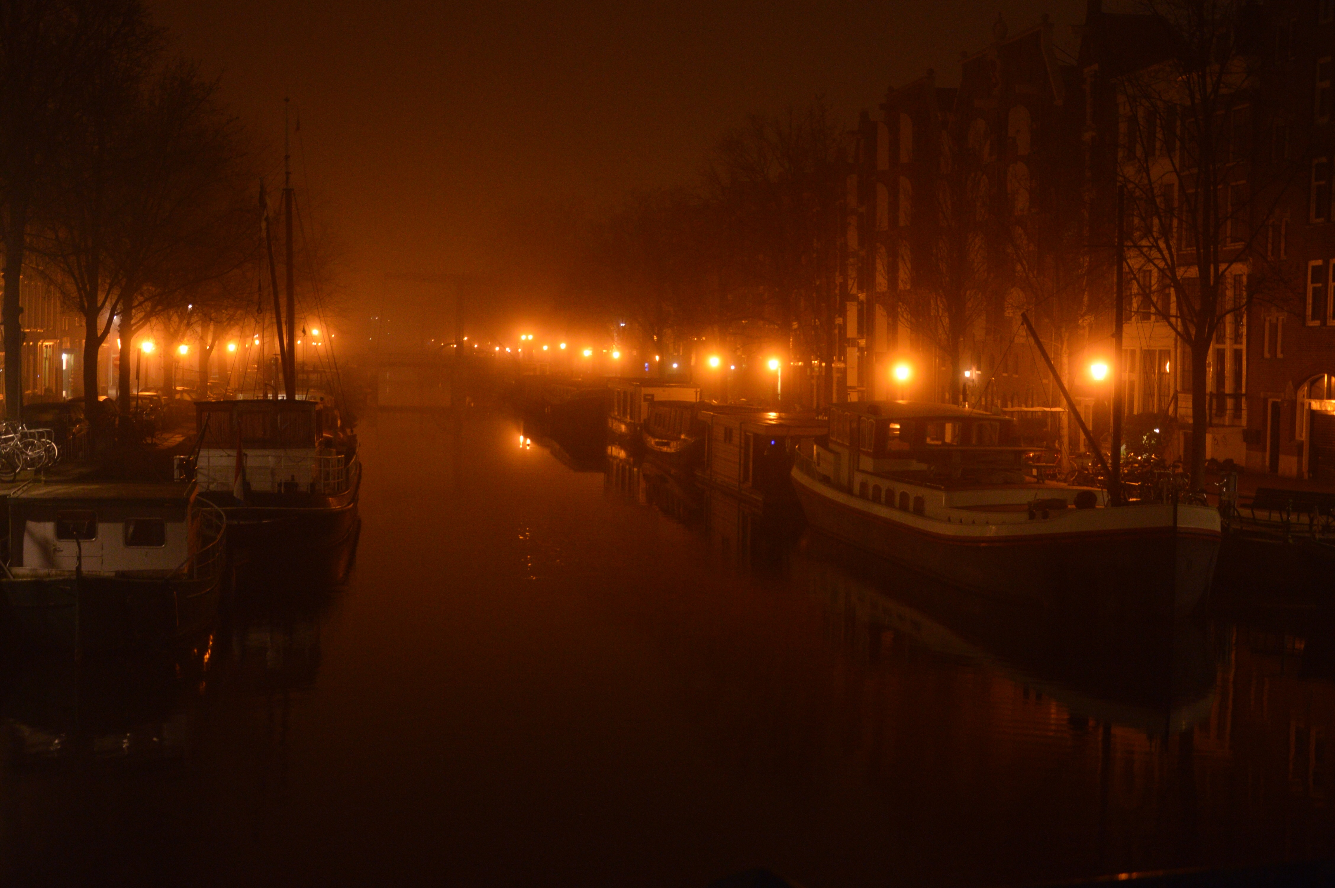 Mist on canal in Amsterdam