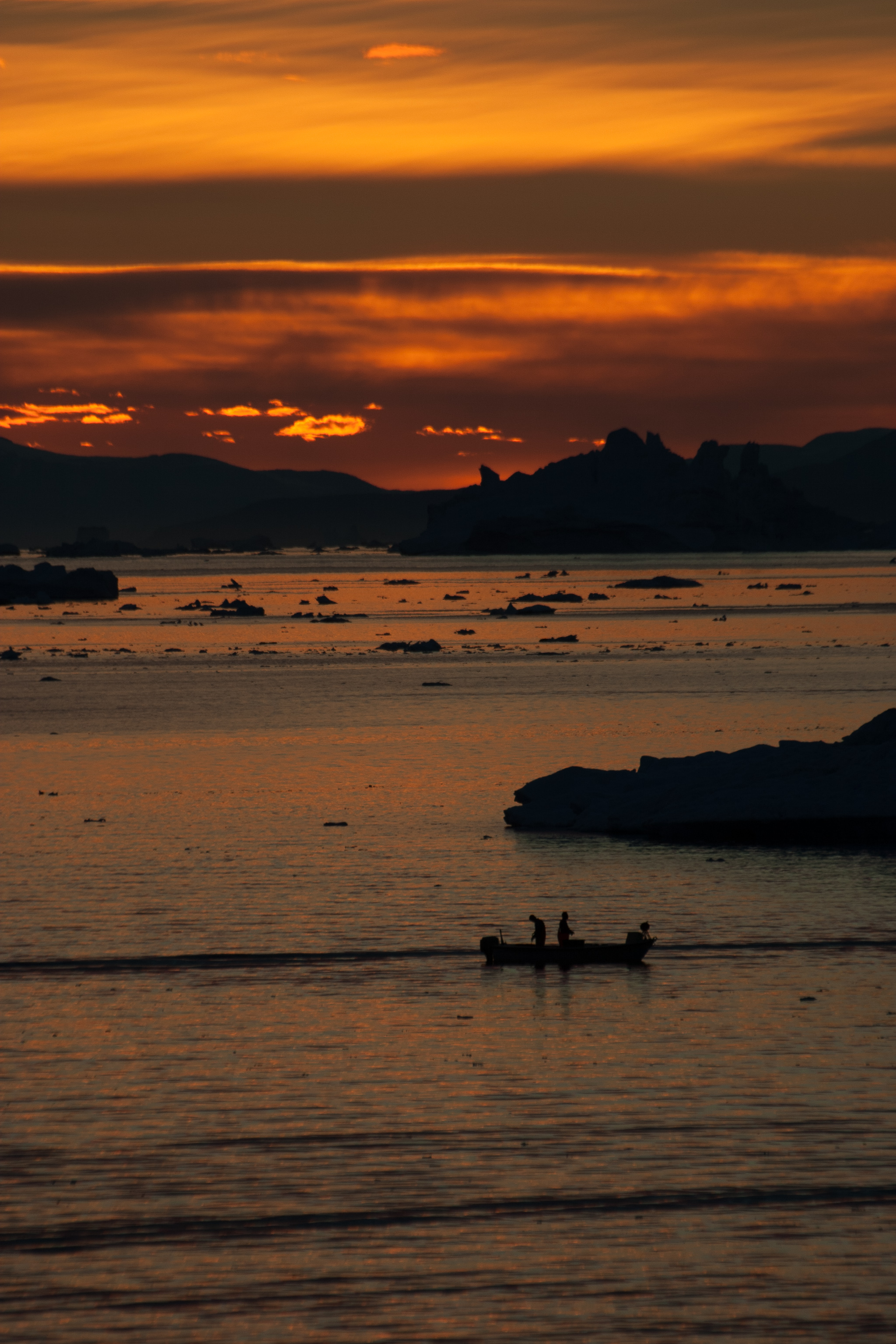Fishing in midnight sun, Greenland