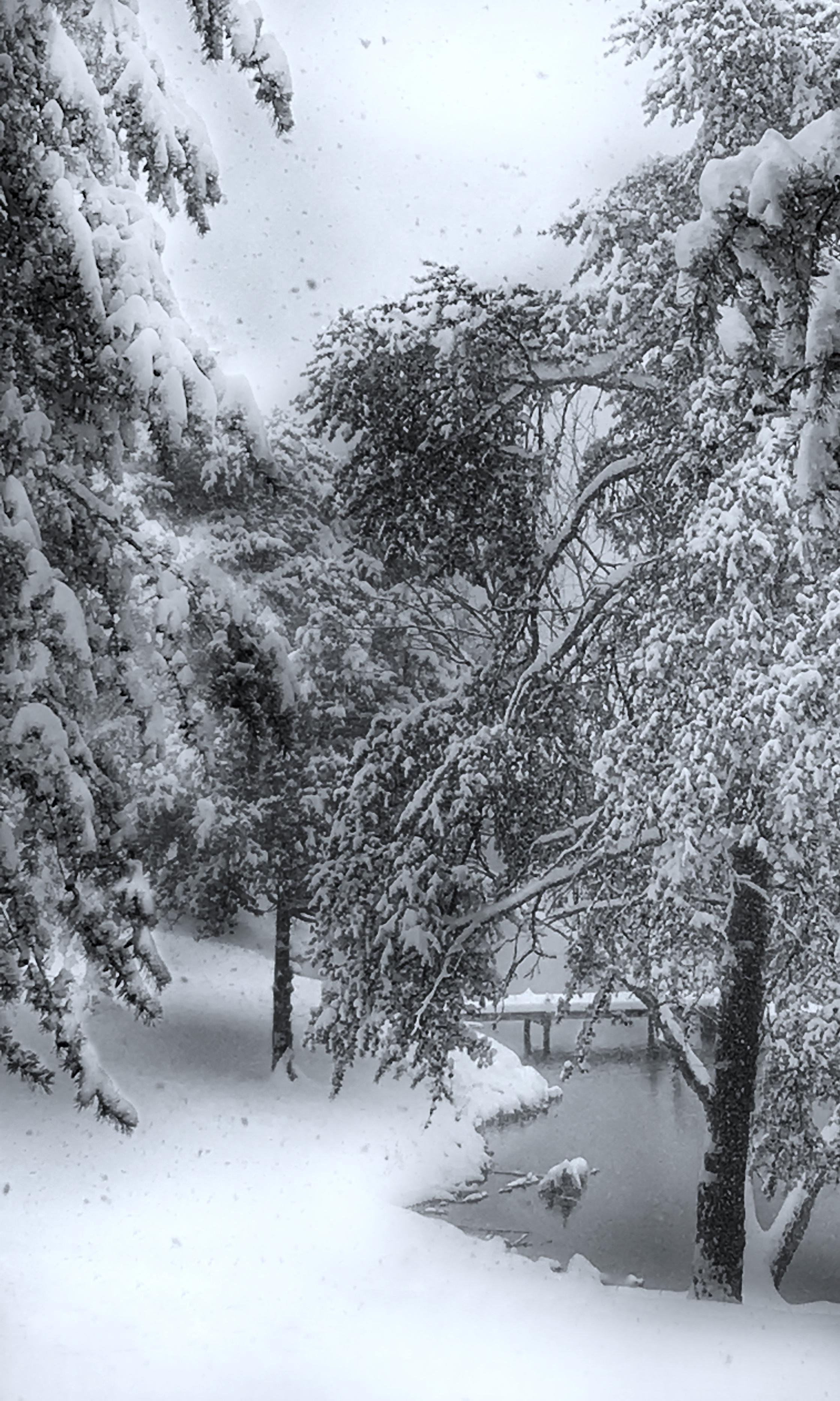 Snowy path on lake