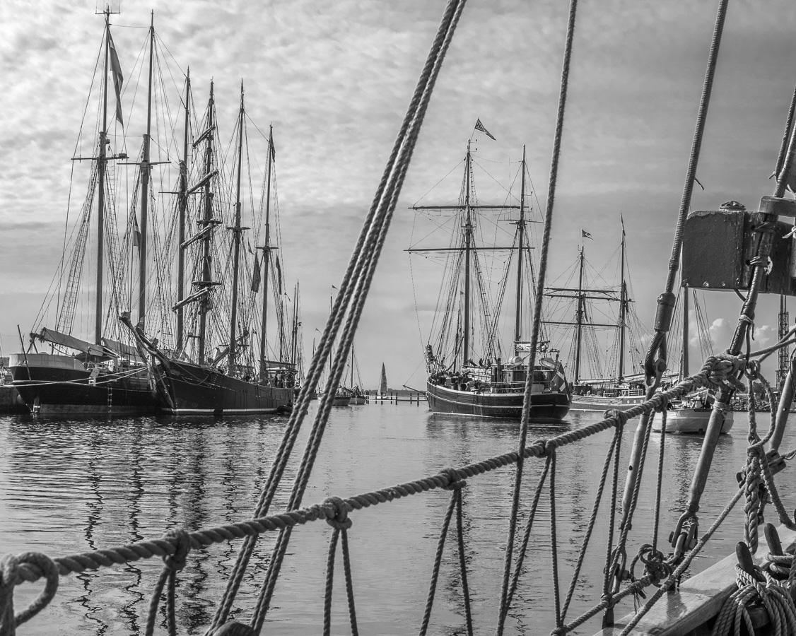 Taken aboard the Swedish ketch Valkyrien while leaving harbour in the Danish regatta for classic ships Fyn-Rundt round the island of Fyn