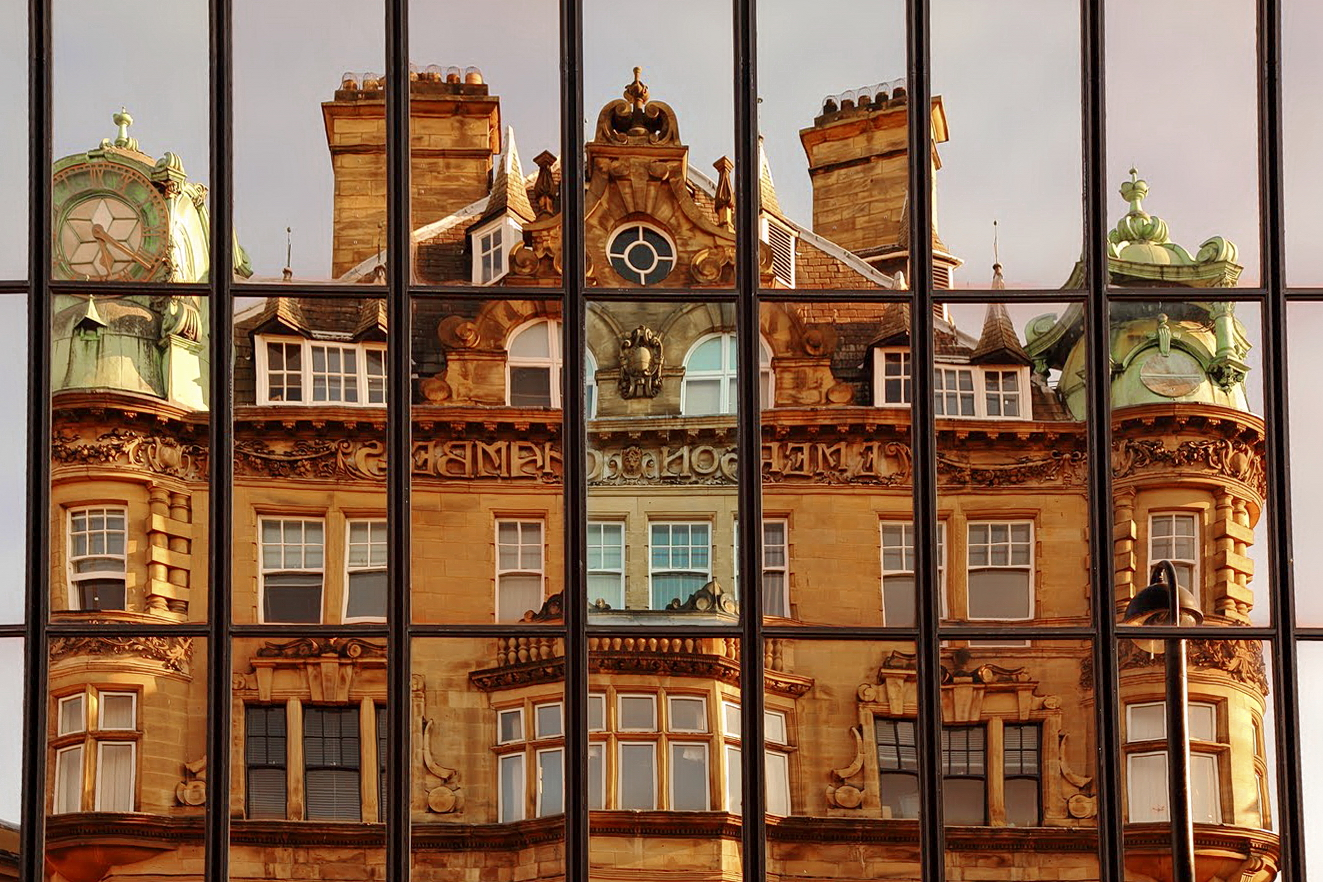 Patterns in reflections, Newcastle upon Tyne, UK