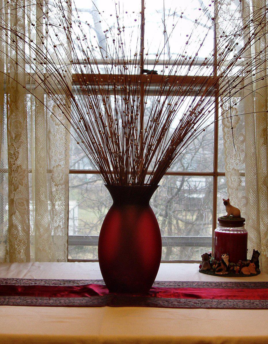 red translucent vase