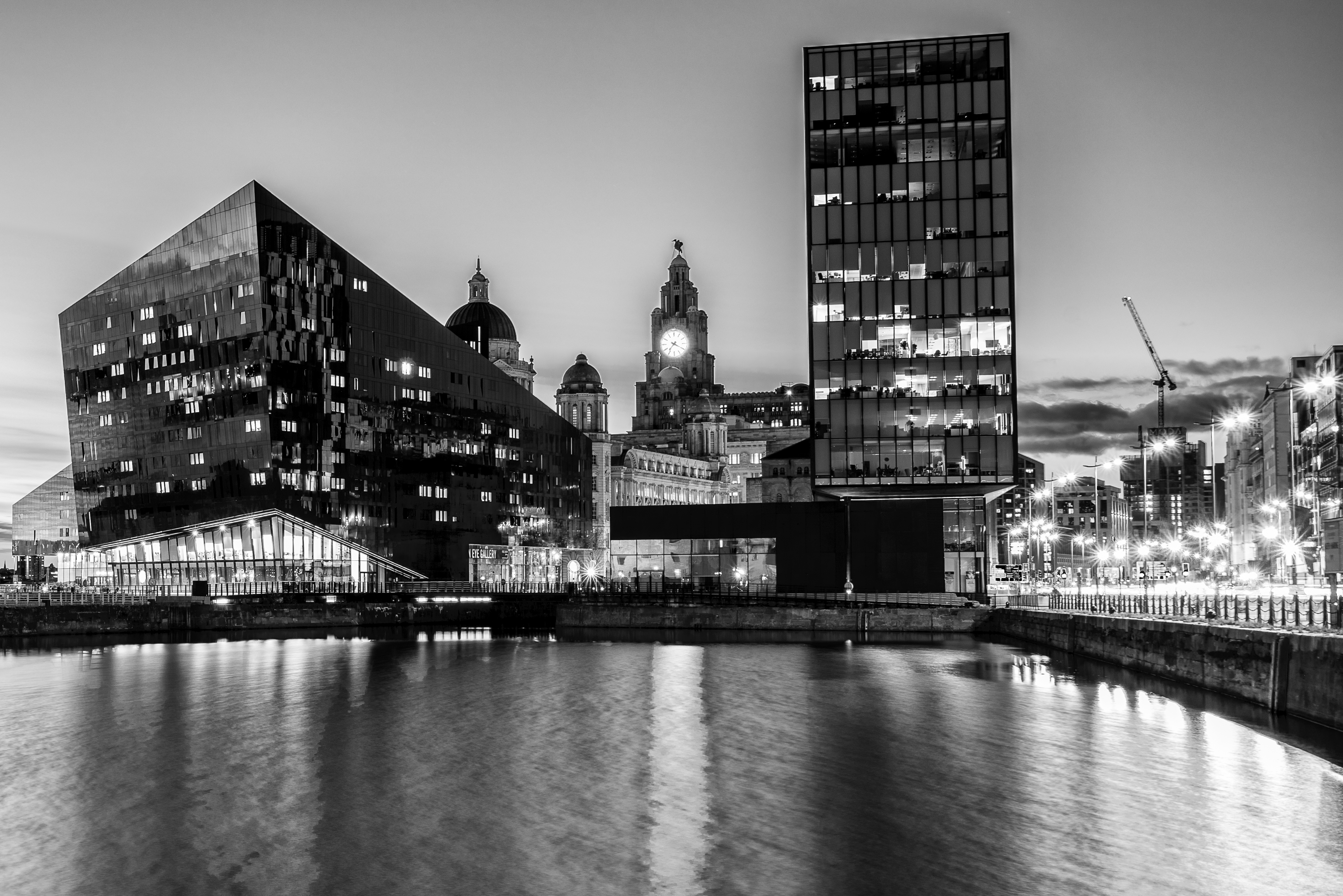 Canning Dock Blue Hour goes Black and White