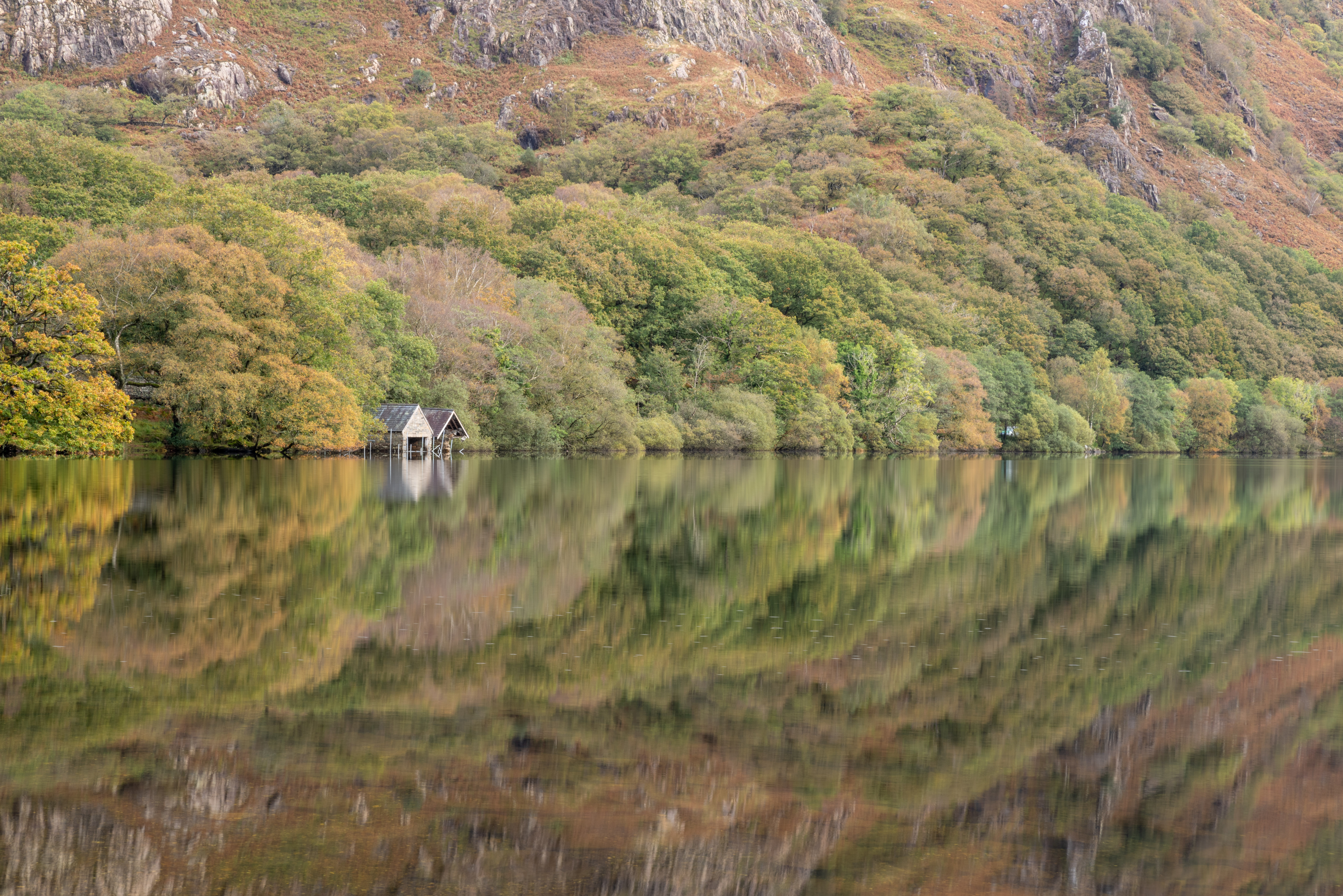 Two boatsheds on the Southern shore of Llyn Dinas, Snowdonia. The image shows the trees and some   hills behind reflected in the lake. The trees display some early Autumn colour.