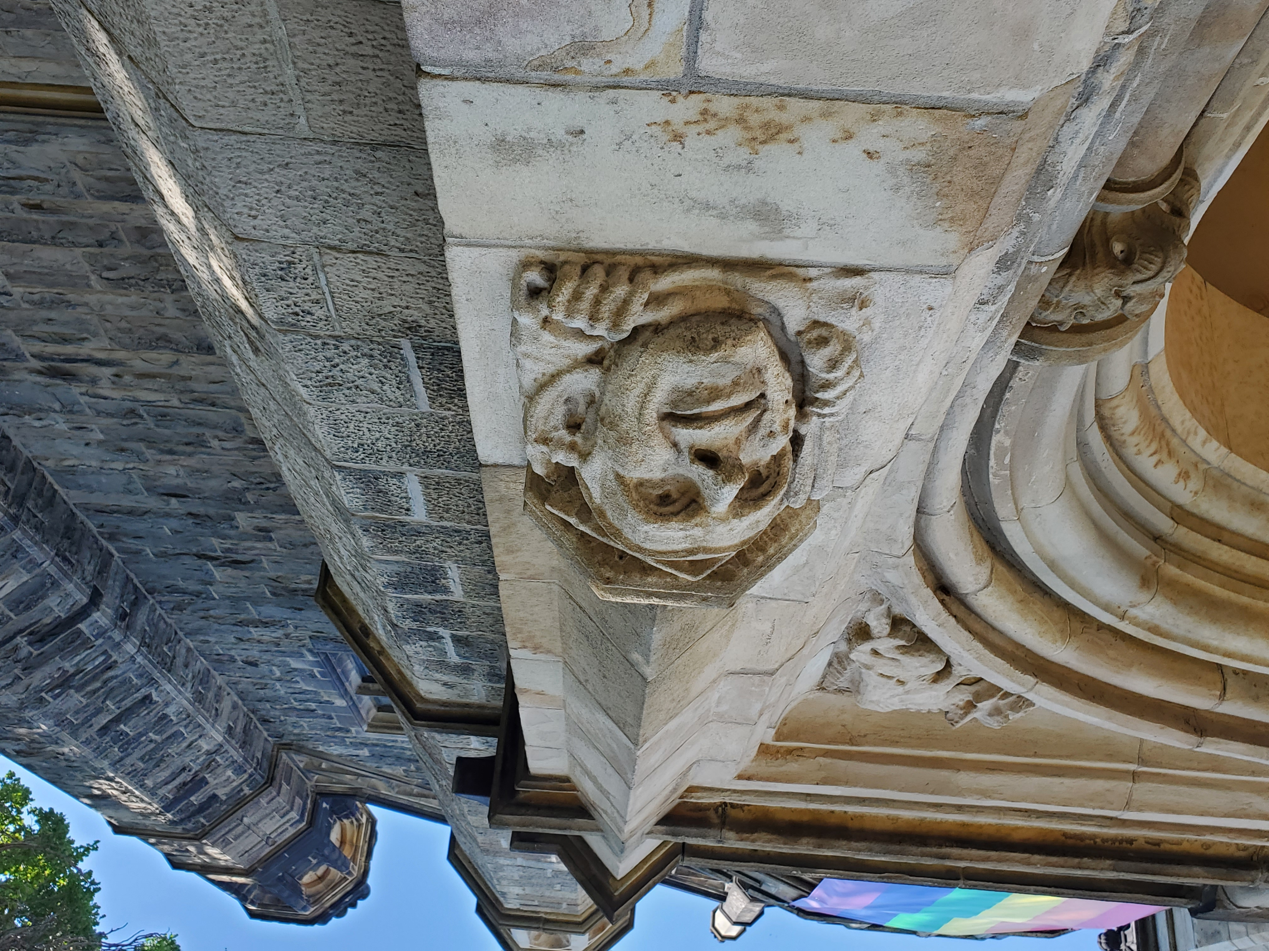 Carving on the entry to Trinity College, University of Toronto